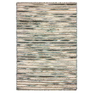 LR Home Topanga Grey Wool/Jute Striped Area Rug (8' x 10')