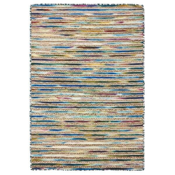 Shop Lr Home Topanga Lapis Blue Striped Wool And Jute Area