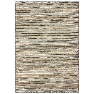 LR Home Topanga Striped Wool and Jute Indoor Area Rug - 8' x 10'