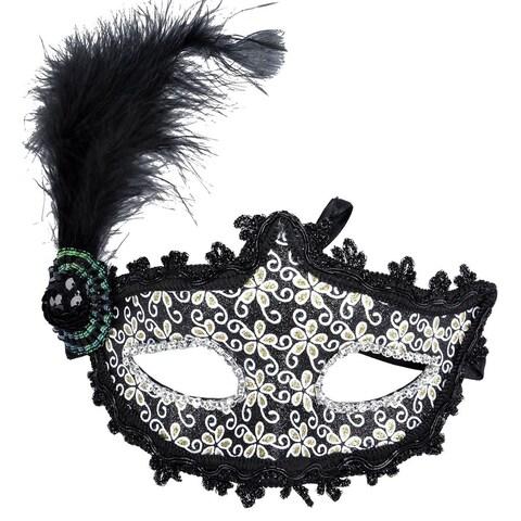 Women's Luxurious Halloween Birthday Party Masquerade Mask Black Feather