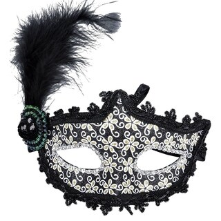 Women's Luxurious Halloween Birthday Party Masquerade Mask Black Feather