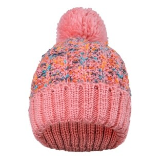 Adults' Knit Multicolor Speckled Knit Beanie with Yarn Pompom