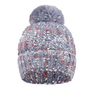 Adults' Multicolor Speckled Knit Beanie with Yarn Pompom