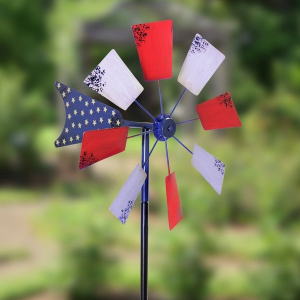 Beau 16 Inch Patriotic Kinetic Windmill Garden Stake