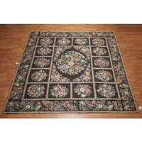 Victorian Floral Asmara Needlepoint Aubusson Hand Woven Area Rug (10'x10')