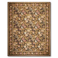Floral Frenzy Asmara Needlepoint Aubusson Hand Woven Area Rug - multi