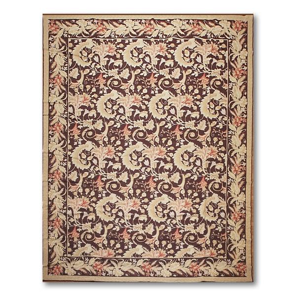 "Floral Elegance Asmara Needlepoint Aubusson Hand Woven Area Rug - 10'x13'4"""