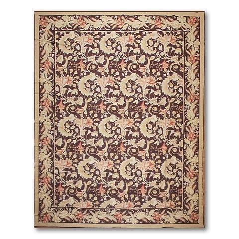 "Floral Elegance Asmara Needlepoint Aubusson Hand Woven Area Rug - Dark Chocolate/Beige - 10' x 13'4"""