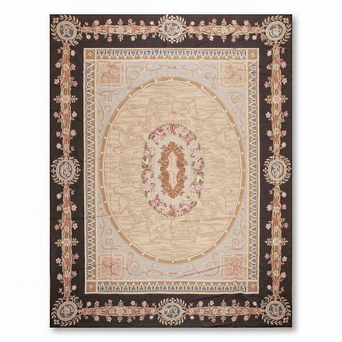 Formal Victorian Asmara Needlepoint Aubusson Hand Woven Area Rug - Grey/Brown - 9' x 12'