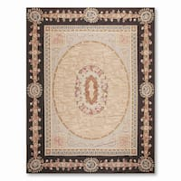 Formal Victorian Asmara Needlepoint Aubusson Hand Woven Area Rug - multi