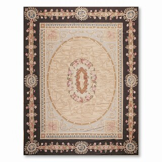 Formal Victorian Asmara Needlepoint Aubusson Hand Woven Area Rug - 9'x12'
