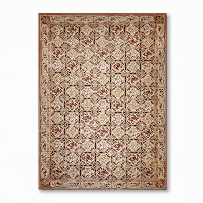 Ornate Asmara Needlepoint Aubusson Area Rug - Beige/Chocolate Brown - 12' x 18' - Beige/Chocolate Brown - 12' x 18'