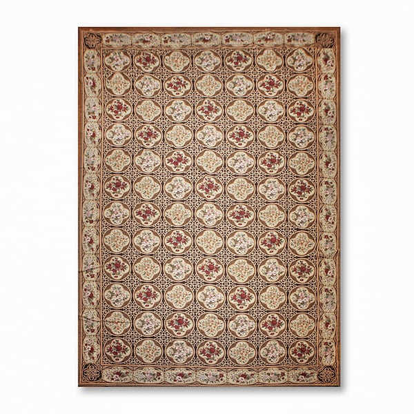 Ornate Asmara Needlepoint Aubusson Area Rug - 12'x18'
