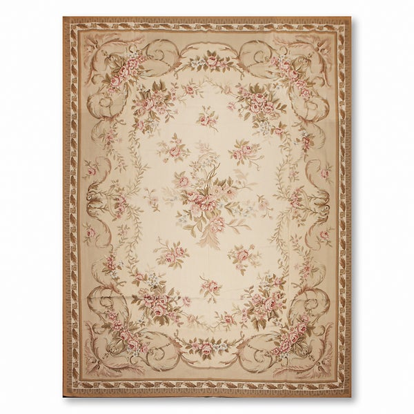 Ornamental Asmara Needlepoint Aubusson Hand Woven Area Rug - 10'x14'
