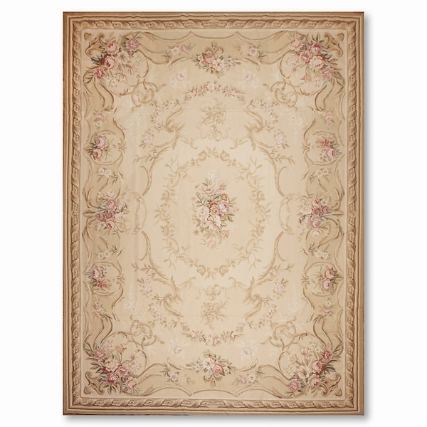 Asmara Traditional Needlepoint Aubusson Hand Woven Area Rug - 10'x14'