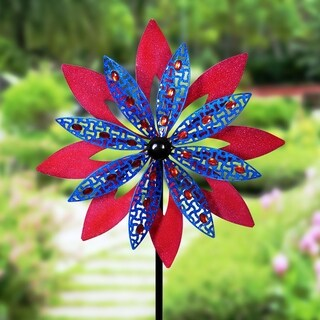 Giant Kinetic Red & Blue Garden Stake with Beads
