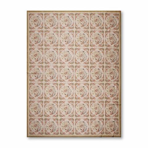 Victorian Pattern Asmara Needlepoint Aubusson Area Rug - Greyish Beige/Rust - 9' x 12' - Greyish Beige/Rust - 9' x 12'