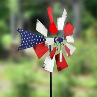 24 inch Patriotic Kinetic Windmill Garden Stake