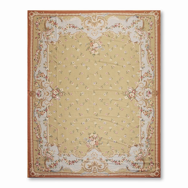 French Country Asmara Needlepoint Aubusson Hand Woven Area Rug - multi