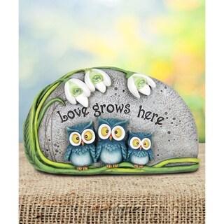 Love Grows Here Triple Owl Statue