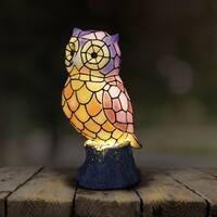 Battery Powered LED Tiffany Owl Statue