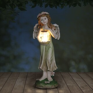 Solar Fairy with Pink Floral Crown and Firefly Jar Statuary