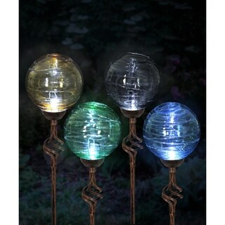 "4"" Solar Hairline Glass and Metal Orb Stakes - Set of 4"