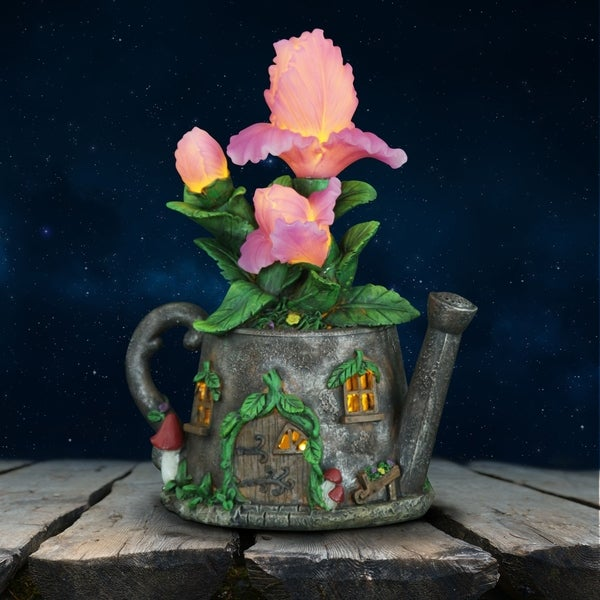 Solar Tea Kettle with Pink Flowers