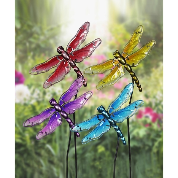 Glass Dragonfly Garden Stakes   Set Of 4