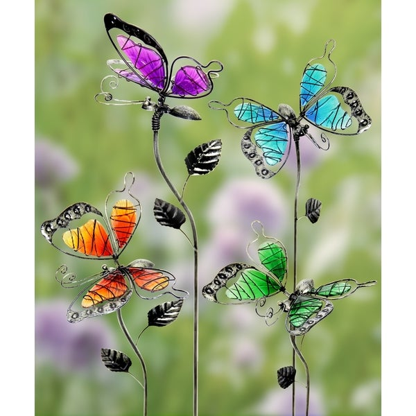 Glass WindyWings Butterfly Garden Stakes   Set Of 4