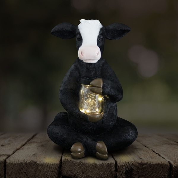 "19"" Solar Cow with Firefly Jar"
