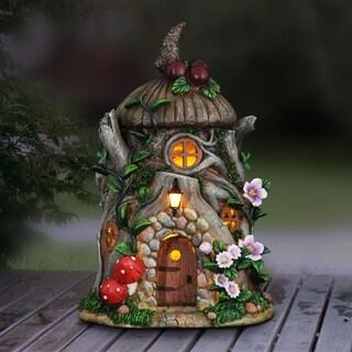 """13"""" Solar Cherry Top Stone Fairy House"""