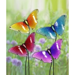 Glass Butterfly Garden Stakes - Set of 4