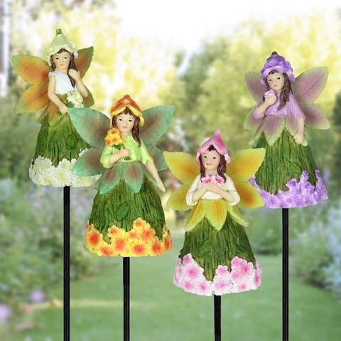 9 inch Fairy Stakes with Floral Skirts - Set of 4