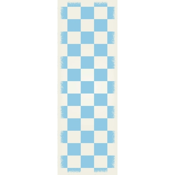 English Checker Design Size Rug light blue & white colors