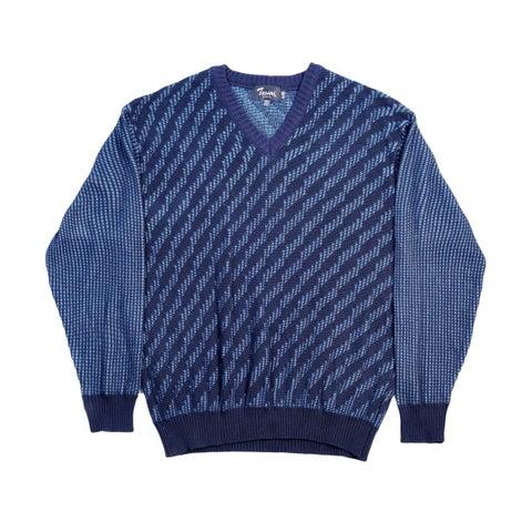 High Quality Tosani Men's Wool Blend V-Neck Sweater. Size: M. Blue.