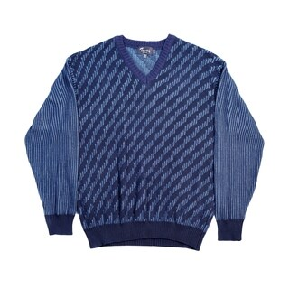 High Quality Tosani Men's Wool Blend V-Neck Sweater. Size: M. Blue.