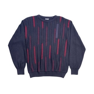 High Quality Men's Cooper Sweater. Crew Neck, in Blue / Grey / Red. Sizes: M, L.