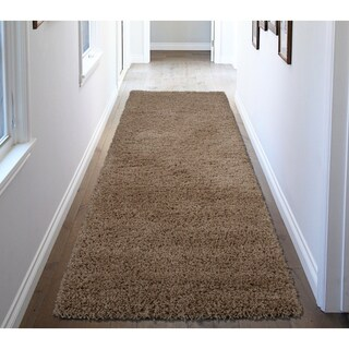 Ottomanson Soft Cozy Solid Color Shag Runner Rug (3' x 8')