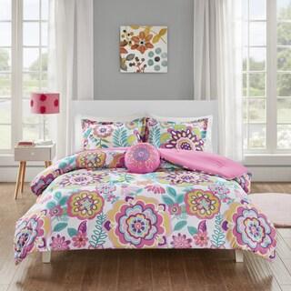 Mi Zone Corinne Pink Floral 4-piece Comforter Set