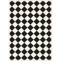 Diamond European Design Weather-aged Finish Black/White Vinyl Super Durable Multilayer Technical Grade Rug