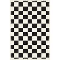 English Checker Design -  Black & White colors, a weather aged finish- super durable &multilayer technical grade vinyl rug.