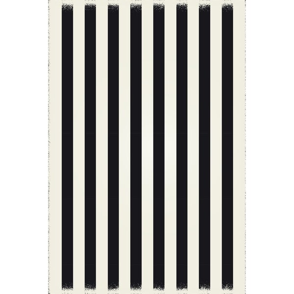 Strips of European Design - Black & White colors, a weather aged finish- durable & multilayer technical grade vinyl rug.