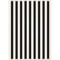 Strips of European Design - Black & white colors, weather aged finish- super durable and multilayer technical grade vinyl rug.