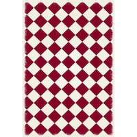 Diamond European Design -  Red & White colors, a weather aged finish- super durable &multilayer technical grade vinyl rug.