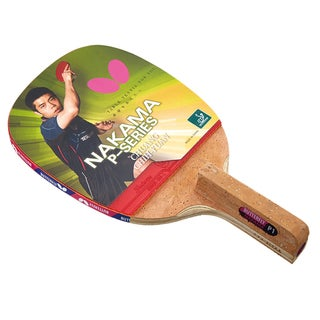 Butterfly Nakama P-1 Japanese Penhold Carbon Blade, Sriver 1.7mm Rubbers, ITTF Approved Table Tennis Racket with 2 Balls