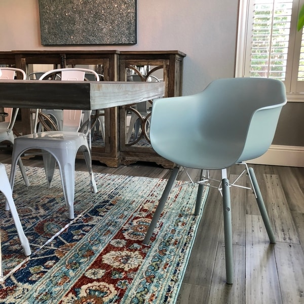 Grazia Ice Blue Mid Century Arm Chair PP Base (Set of 4)