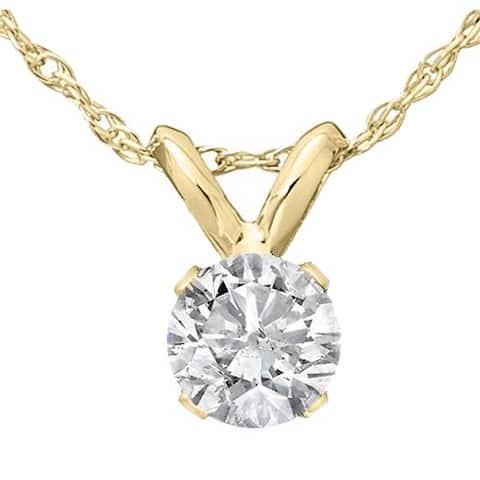 Pompeii3 14k Yellow Gold 1/3 ct TDW Round Solitaire Diamond Pendant Womens Necklace - White