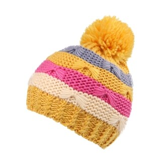 Kids' Pompom Chunky Striped Knit Winter Beanie