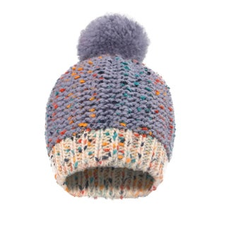 Kids Beanie Chunky Knit Beanie with Yarn Pompom (Option: Grey - 4T)